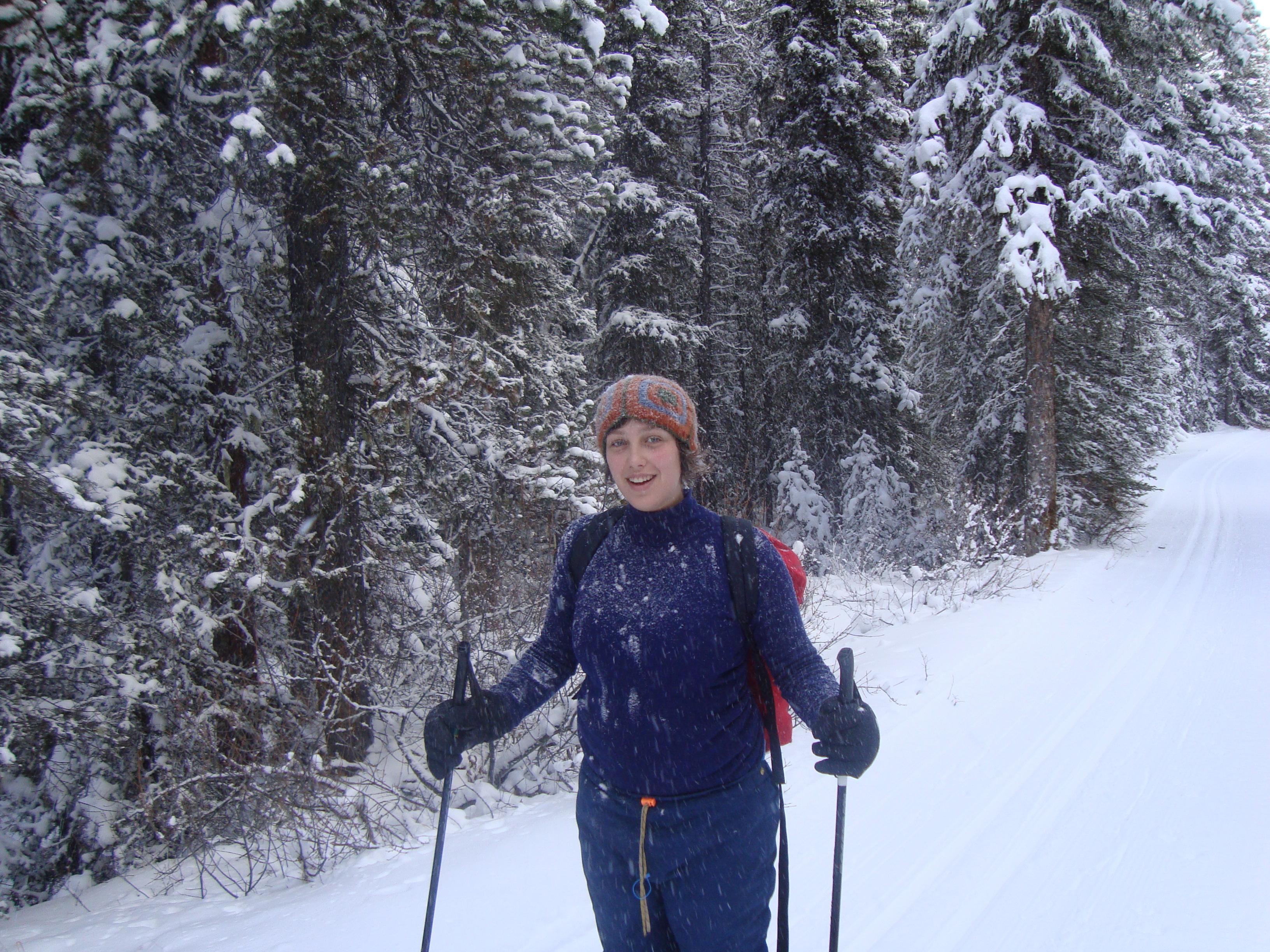 Kay skiing on Goat Creek Dec 30, 2008