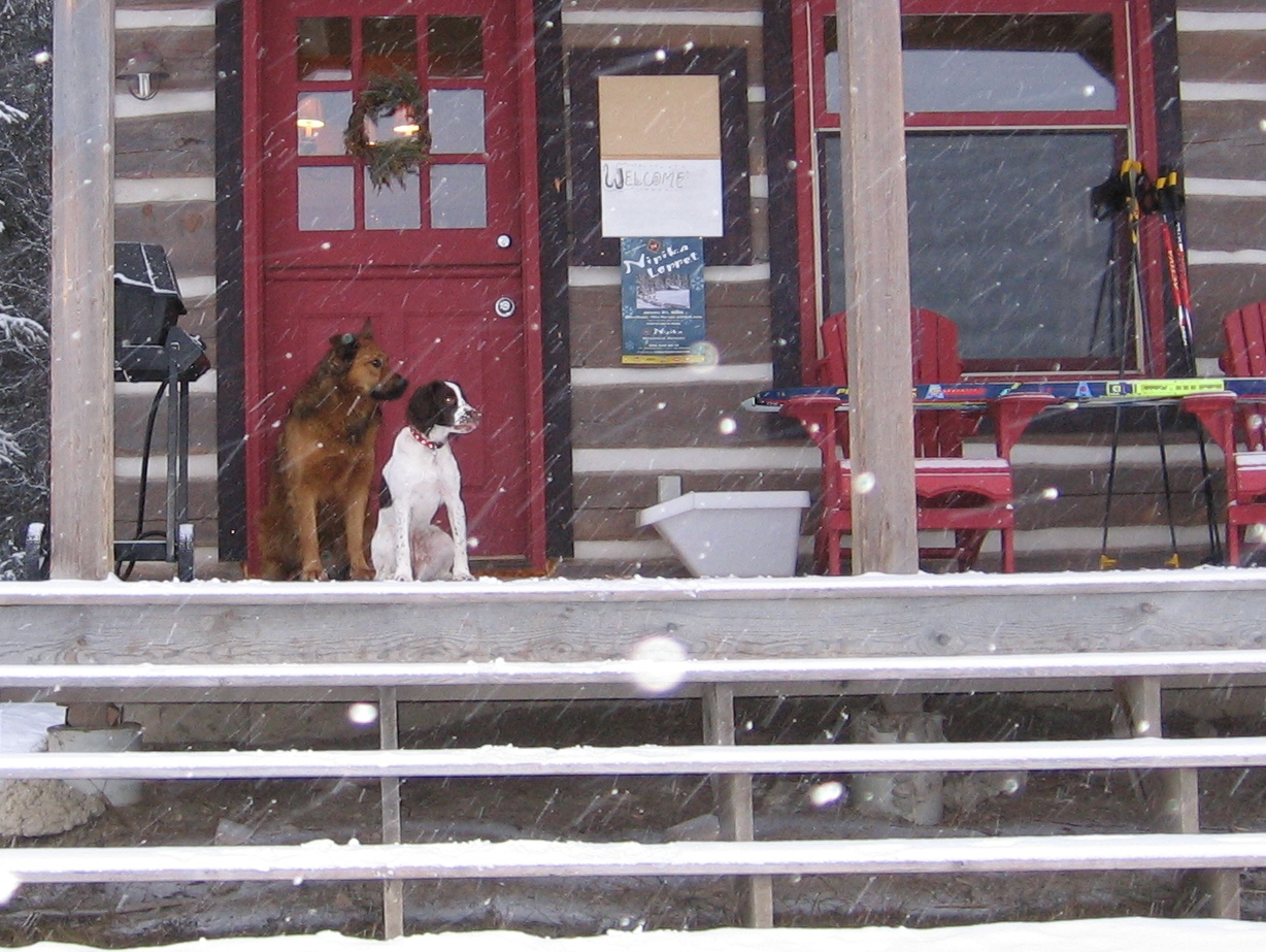 Rufus and Tessa in front of cabin at Nipika