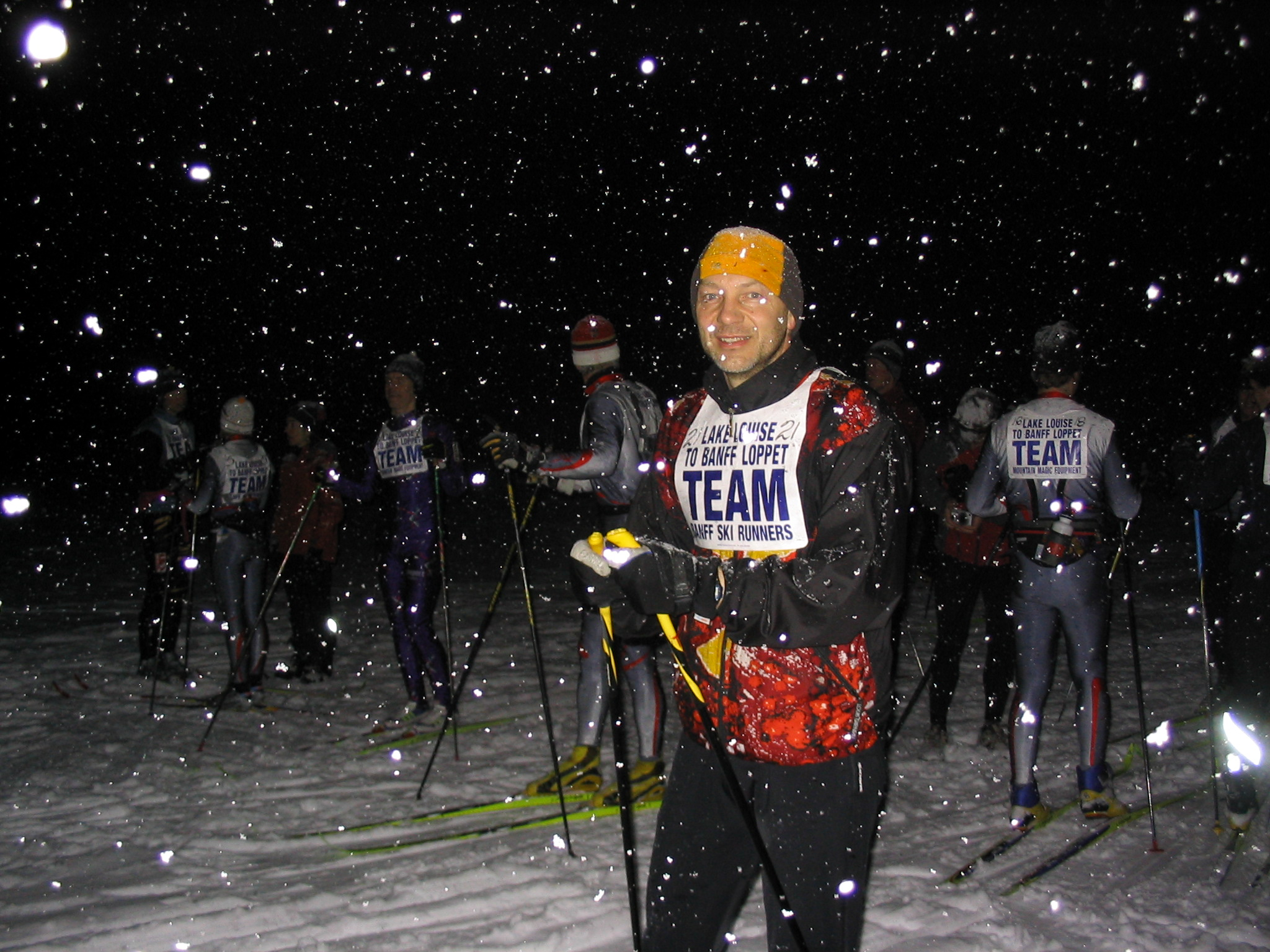 Preparing to start the Lake Louise to Banff Loppet in 2004