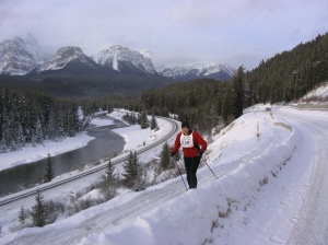 Skier overlooking Morant's Curve