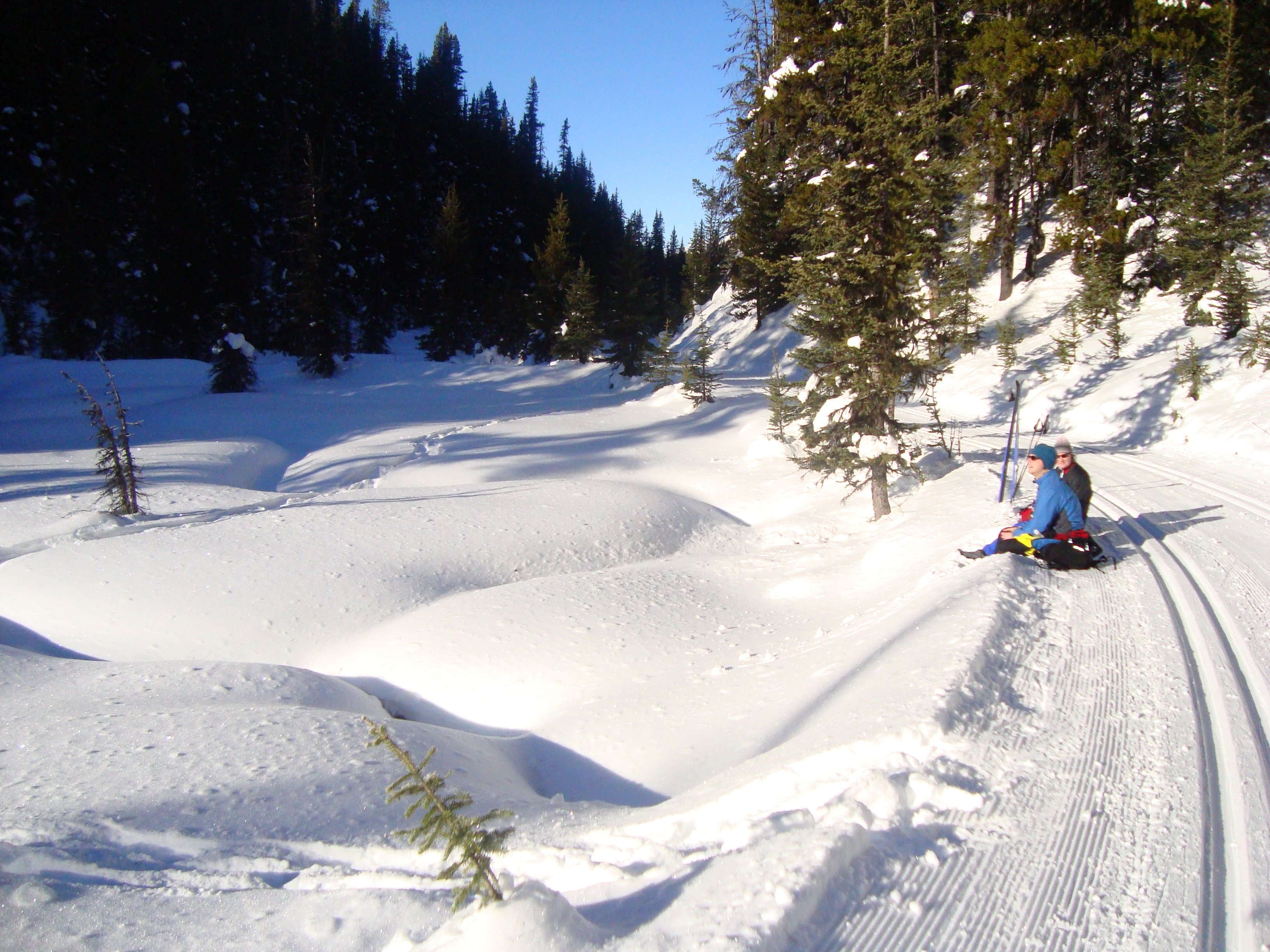 Skiers enjoying the sun and snow on Elk Pass