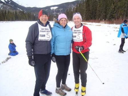 Bob, Cheryl, and Peter take 3rd place overall in the 71K team event at the Lake Louise to Banff loppet  Jan 31, 2009