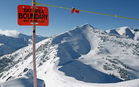 Out of bounds marker at Kicking Horse resort